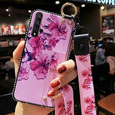 Handyhülle Silikon Hülle Gummi Schutzhülle Blumen S03 für Huawei Nova 5T Violett