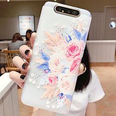 Handyhülle Silikon Hülle Gummi Schutzhülle Blumen S03 für Samsung Galaxy A80 Plusfarbig