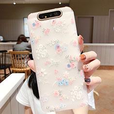 Handyhülle Silikon Hülle Gummi Schutzhülle Blumen S03 für Samsung Galaxy A80 Rosa