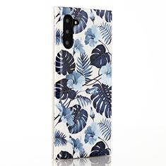Handyhülle Silikon Hülle Gummi Schutzhülle Blumen S03 für Samsung Galaxy Note 10 Blau