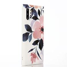 Handyhülle Silikon Hülle Gummi Schutzhülle Blumen S03 für Samsung Galaxy Note 10 Plus Rosa