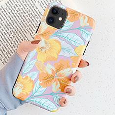 Handyhülle Silikon Hülle Gummi Schutzhülle Blumen S04 für Apple iPhone 11 Gold