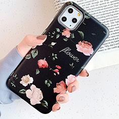 Handyhülle Silikon Hülle Gummi Schutzhülle Blumen S04 für Apple iPhone 11 Pro Schwarz