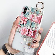 Handyhülle Silikon Hülle Gummi Schutzhülle Blumen S04 für Apple iPhone Xs Max Grün