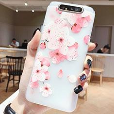 Handyhülle Silikon Hülle Gummi Schutzhülle Blumen S04 für Samsung Galaxy A80 Pink