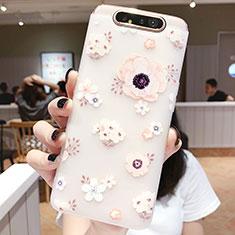 Handyhülle Silikon Hülle Gummi Schutzhülle Blumen S04 für Samsung Galaxy A80 Rosa
