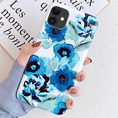 Handyhülle Silikon Hülle Gummi Schutzhülle Blumen S05 für Apple iPhone 11 Blau