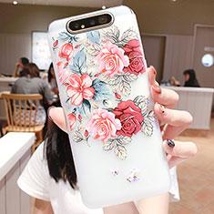 Handyhülle Silikon Hülle Gummi Schutzhülle Blumen S05 für Samsung Galaxy A80 Plusfarbig