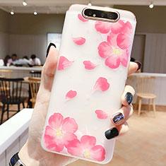 Handyhülle Silikon Hülle Gummi Schutzhülle Blumen S05 für Samsung Galaxy A80 Rosa
