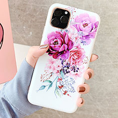 Handyhülle Silikon Hülle Gummi Schutzhülle Blumen S06 für Apple iPhone 11 Pro Max Violett