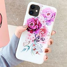 Handyhülle Silikon Hülle Gummi Schutzhülle Blumen S06 für Apple iPhone 11 Violett