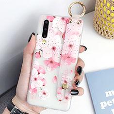 Handyhülle Silikon Hülle Gummi Schutzhülle Blumen S07 für Huawei P30 Pink