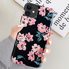 Handyhülle Silikon Hülle Gummi Schutzhülle Blumen S08 für Apple iPhone 11 Schwarz