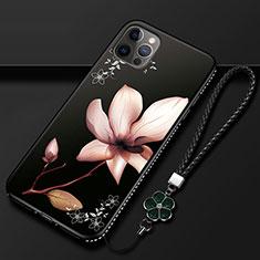 Handyhülle Silikon Hülle Gummi Schutzhülle Flexible Blumen für Apple iPhone 12 Pro Braun