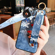 Handyhülle Silikon Hülle Gummi Schutzhülle Flexible Blumen für Huawei Honor 30 Lite 5G Blau