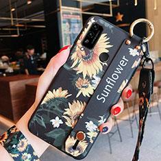 Handyhülle Silikon Hülle Gummi Schutzhülle Flexible Blumen für Huawei Honor Play4T Orange