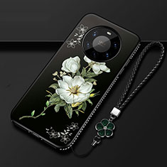 Handyhülle Silikon Hülle Gummi Schutzhülle Flexible Blumen für Huawei Mate 40 Pro+ Plus Schwarz