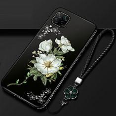 Handyhülle Silikon Hülle Gummi Schutzhülle Flexible Blumen für Huawei P40 Lite Weiß