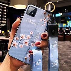 Handyhülle Silikon Hülle Gummi Schutzhülle Flexible Blumen für Oppo A73 5G Hellblau