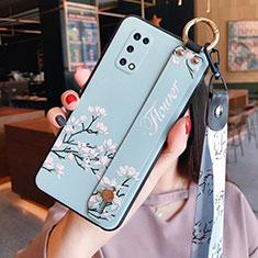 Handyhülle Silikon Hülle Gummi Schutzhülle Flexible Blumen für Oppo K7x 5G Hellblau
