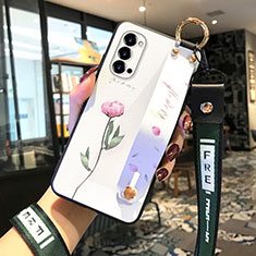 Handyhülle Silikon Hülle Gummi Schutzhülle Flexible Blumen für Oppo Reno4 5G Rosa