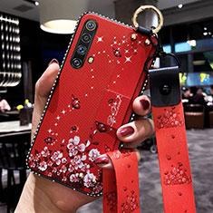 Handyhülle Silikon Hülle Gummi Schutzhülle Flexible Blumen für Realme X50m 5G Rot