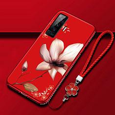 Handyhülle Silikon Hülle Gummi Schutzhülle Flexible Blumen für Vivo X50 5G Fuchsie