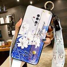 Handyhülle Silikon Hülle Gummi Schutzhülle Flexible Blumen für Vivo X50e 5G Blau