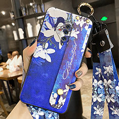 Handyhülle Silikon Hülle Gummi Schutzhülle Flexible Blumen für Vivo X50e 5G Königs Blau