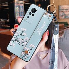 Handyhülle Silikon Hülle Gummi Schutzhülle Flexible Blumen für Vivo X60 Pro 5G Hellblau