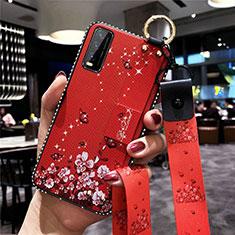 Handyhülle Silikon Hülle Gummi Schutzhülle Flexible Blumen für Vivo Y12s Rot