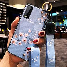 Handyhülle Silikon Hülle Gummi Schutzhülle Flexible Blumen für Vivo Y20s Hellblau