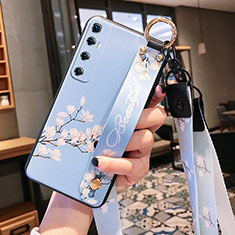 Handyhülle Silikon Hülle Gummi Schutzhülle Flexible Blumen für Xiaomi Mi 10 Ultra Hellblau