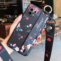 Handyhülle Silikon Hülle Gummi Schutzhülle Flexible Blumen für Xiaomi Mi 11 5G Schwarz