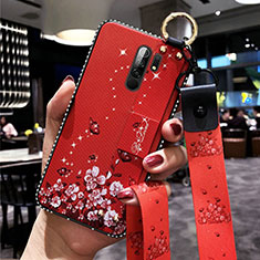 Handyhülle Silikon Hülle Gummi Schutzhülle Flexible Blumen für Xiaomi Redmi 9 Prime India Rot