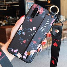 Handyhülle Silikon Hülle Gummi Schutzhülle Flexible Blumen K01 für Samsung Galaxy Note 10 Plus 5G Schwarz