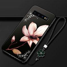 Handyhülle Silikon Hülle Gummi Schutzhülle Flexible Blumen K01 für Samsung Galaxy S10 Braun