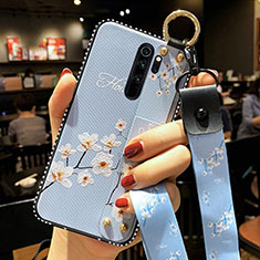 Handyhülle Silikon Hülle Gummi Schutzhülle Flexible Blumen K01 für Xiaomi Redmi Note 8 Pro Hellblau