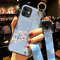 Handyhülle Silikon Hülle Gummi Schutzhülle Flexible Blumen S01 für Apple iPhone 12 Hellblau