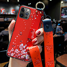 Handyhülle Silikon Hülle Gummi Schutzhülle Flexible Blumen S01 für Apple iPhone 12 Pro Rot