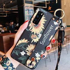 Handyhülle Silikon Hülle Gummi Schutzhülle Flexible Blumen S01 für Huawei Enjoy 20 Pro 5G Gelb