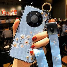 Handyhülle Silikon Hülle Gummi Schutzhülle Flexible Blumen S01 für Huawei Mate 40 Pro+ Plus Hellblau