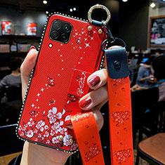 Handyhülle Silikon Hülle Gummi Schutzhülle Flexible Blumen S01 für Huawei P40 Lite Rot