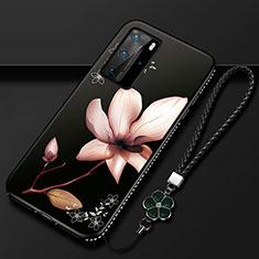 Handyhülle Silikon Hülle Gummi Schutzhülle Flexible Blumen S01 für Huawei P40 Pro Braun