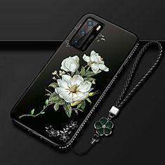 Handyhülle Silikon Hülle Gummi Schutzhülle Flexible Blumen S01 für Huawei P40 Weiß