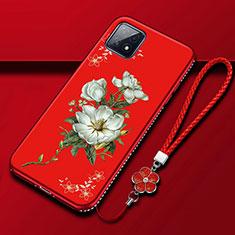 Handyhülle Silikon Hülle Gummi Schutzhülle Flexible Blumen S01 für Oppo A73 5G Rot