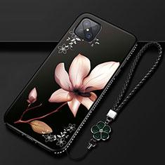 Handyhülle Silikon Hülle Gummi Schutzhülle Flexible Blumen S01 für Oppo Reno4 Z 5G Braun