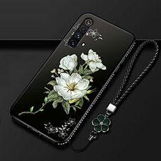 Handyhülle Silikon Hülle Gummi Schutzhülle Flexible Blumen S01 für Realme X3 SuperZoom Weiß