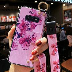 Handyhülle Silikon Hülle Gummi Schutzhülle Flexible Blumen S01 für Samsung Galaxy S10e Violett