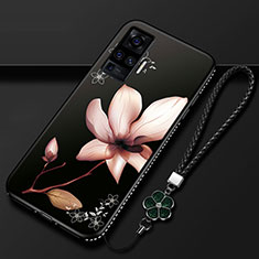 Handyhülle Silikon Hülle Gummi Schutzhülle Flexible Blumen S01 für Vivo X50 Pro 5G Braun